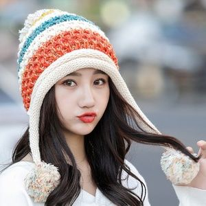 Winter Colorful Knit Pom Pom Hat Fleece Lined
